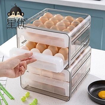 Japanese Draw-Out Type Egg Box Of The Fridge With Drop Boxes Double Kitchen Collision Transparent Crisper