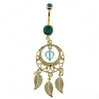 Stainless Steel - Gold Plated Teal Cubic Zirconia Dangling Dream Catcher Belly Ring - 14g 7/16