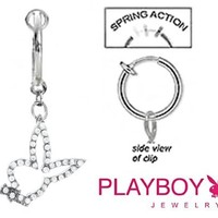 Fake Belly Navel Non Clip on Officially Licensed Clear cz Open Playboy Bunny rabbit dangle Ring