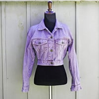 Lavender Denim Jacket, Pastel Goth Jacket, Purple Jean Jacket, Pale Grunge Jacket, Soft Grunge, 90s Grunge Denim Jacket, Crop Denim Jacket