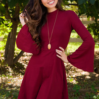 Free To Be Me Dress - Burgundy