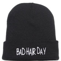 CARA DELEVINGNE Bad Hair Day Black Embroidered Beanie Hat