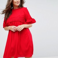 ASOS CURVE Shirred Smock Dress at asos.com