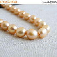 51% Off Freshwater Pearl Gemstone Peach Champagne Oval Rice Nugget 10mm 10 beads 1/2 strand