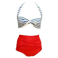 High Size Halter Neck Bikini Brazilian Push Up Swimwear.