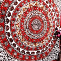 Large Red Star Elephant Round Mandala Tapestry Bedspread Dorm Decor