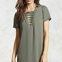 Lace-Up Grommet Shift Dress