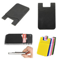 1X Wallet Credit Card Cash Pocket Stick on Adhesive Holder Pouch For Phone
