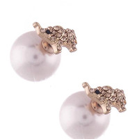 Double Sided Elephant and Pearl Earrings - Rose Gold