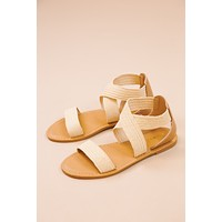 Waterfront Criss Cross Straps Sandal, Natural Raffia