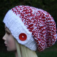 Hand Knit Hat Women's Hat- Slouchy- Beanie hat with button- Christmas hat- Chunky- winter hat- women accessories
