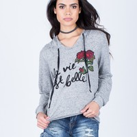 Rose Patched Hoodie