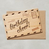 Cardtorial Wooden Birthday Cheer Card in Honey Size: One Size House & Home