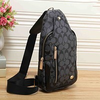 Coach Trending Men Women Stylish Leather Backpack Bookbag Daypack Satchel Black