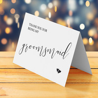 Groomsmaid thank you card printable, Wedding thank you card, Wedding thank you note, Cool cute thank you greeting card, Instant download pdf
