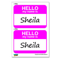 Sheila Hello My Name Is - Sheet of 2 Stickers