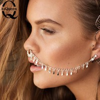 Hot Sale Tassel Punk Nose Ring With Chain Clip On Body Jewelry Fake Septum Piercing Hanger Jewelry For Women