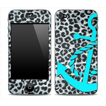 Real Leopard With Turquoise Anchor V3 Skin for the iPhone 3gs, 4/4s or 5