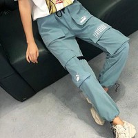 Puma vintage overalls multi-pocket embroidery logo casual sports trousers Blue