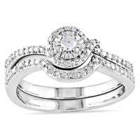 1/7 CT. T.W. Diamond Knot Bridal Set in Sterling Silver - View All Rings - Zales