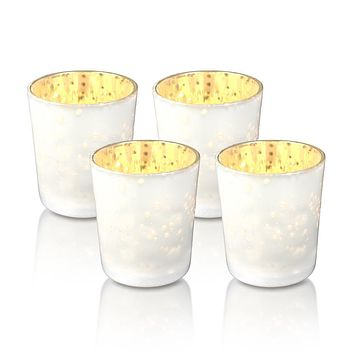 4 Pack | Vintage Mercury Glass Candle Holders (3-Inch, Tess Design, Pearl White) - for use with Tea Lights - for Home Décor, Parties and Wedding Decorations