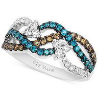 Le Vian 14k White Gold White (1/3 ct. t.w.), Chocolate (1/4 ct. t.w.) and Blue (1/3 ct. t.w.) Diamond Woven Ring