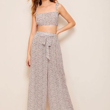 Ditsy Floral Print Crop Cami Top With Belted Pants