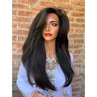Ombre Black Blonde Hair Wig, Big Full Loose Curls Layered 919