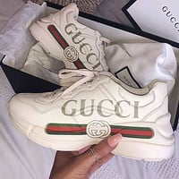 GG Rhyton Men's and Women's Platform Sneakers Shoes