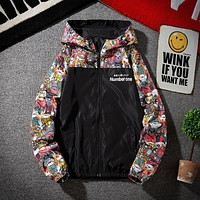 New Mens Casual Hoodies Jackets Printed Clothes Men'S Hooded Windbreaker Male Outwear Streetwear
