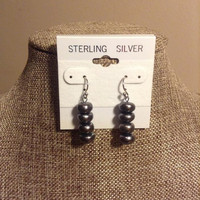Black Freshwater Pearl Earrings Sterling Silver