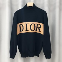 DIOR fashion hot selling men and women semi-turtleneck monogram logo jacquard sweater