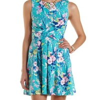 Floral Print Wrap Skater Dress by Charlotte Russe