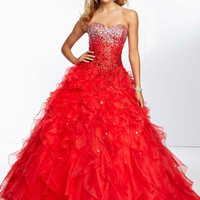 Girl Party Dress Ball Gown Sweetheart Crystal Sequined Beading Sexy Backless Lace-up Ruffles Organza Long Prom Dresses 2014 A103