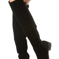 Black Faux Suede Two Toned Knee High Boots