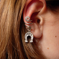 Silver Ear Cuff with Horse Shoe Charm by jhammerberg on Etsy