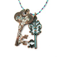 Vintage Skeleton Key Charm Necklace in Brass with Turquoise Details | DOTOLY