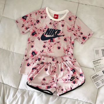 nike women fashion print short sleeve top shorts sweatpants set two piece sportswear-2
