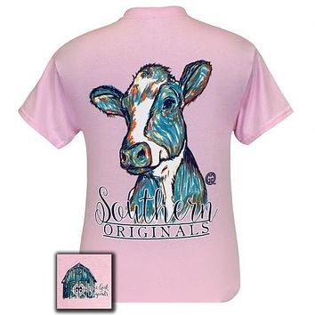 Girlie Girl Originals Southern Preppy Watercolor Cow T-Shirt