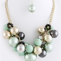 BUBBLE BEAD LAYERED CLUSTER NECKLACE SET