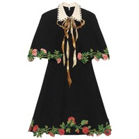 DCCKXT7 Gucci' Women Temperament Fashion Retro Lapel Short Sleeve Flower Embroidery Cloak Bow Mini Dress