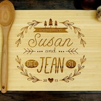Personalized Cutting Board (Pictured in Natural), approx. 12 x 16 inches, Hand Drawn Monogram, Wedding gift, Anniversary gif