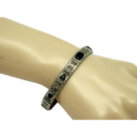 Art Deco STERLING Sapphire Crystal Clear Paste Filigree Bracelet Signed and Hallmarked