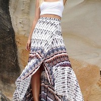 White Tribal Floral Print Sashes Irregular High Waisted Bohemian Skirt