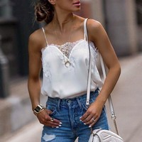 Elegant lace satin tank top women camis Sexy spaghetti strap ladies shirt tops Female casual blusas tops