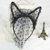 Lace cat rabbit ears headband hair band hair ring veil headdress mask goggles nightclub party rabbit cat girl J60C*SS0099-in Hair Accessories from Women's Clothing & Accessories on Aliexpress.com   Alibaba Group