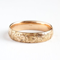 Antique 12k Rose Gold Filled Hinged Flower Bracelet - Early 1900s Edwardian Art Nouveau Floral Thick Stacking Bangle Jewelry