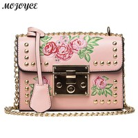 Women Messenger Bags Mini Beads Flowers PU Handbag Designers Chain Shoulder Crossbody Bags Feminina Ladies Small Shoulder Bag bo