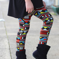 Girls Triangular Puzzle Leggings {Red Mix}