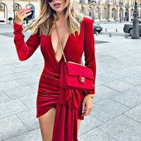 New women's dance party red carpet deep V high slits not down velvet long-sleeved dress
